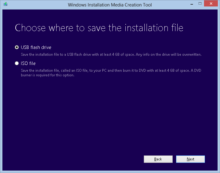 Windows Installation Media Creation Tool - Selezione supporto