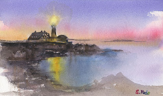 ポートランドの灯台。水彩画 Portland-Head-Lighthouse Watercolor