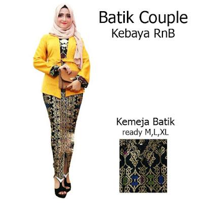 Batik Couple Setelan Kebaya Batik Muslim Kutubaru Rok Batik Prada SBRG140