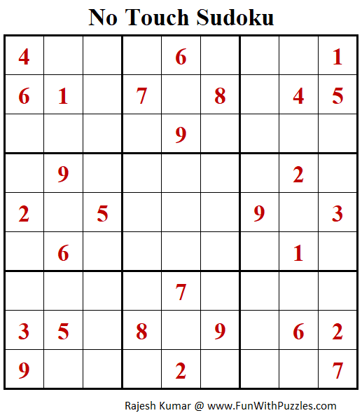 No Touch Sudoku Puzzle (Fun With Sudoku #302)