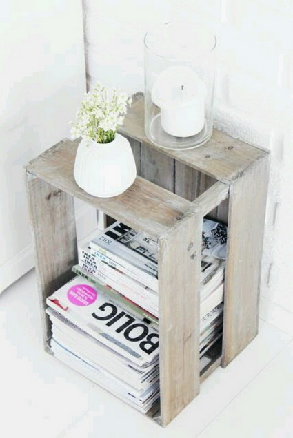 Decorate with old wooden crate boxes 2