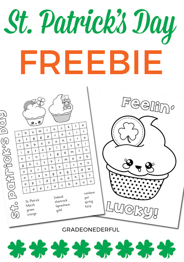 Free word search and coloring page for St. Patrick's Day. Perfect for K to Grade 3.