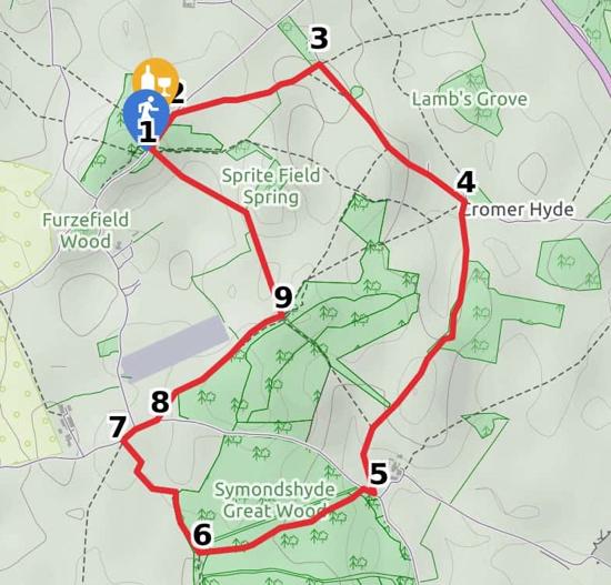 Map for Walk 54: Symondshyde Loop