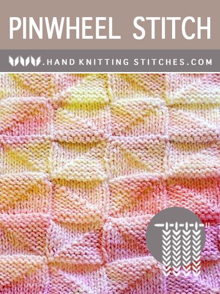 Hand Knitting Stitches - Pinwheel #KnitPurl Pattern