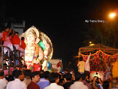 A Huge Ganpati on His way for immersion - Ganesh Visarjan, Mumbai