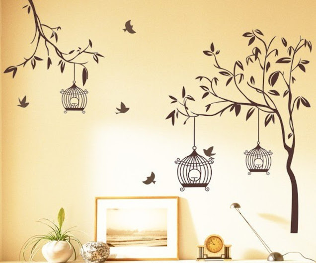 Tree-with-Birds-and-Cages-Wall-Sticker