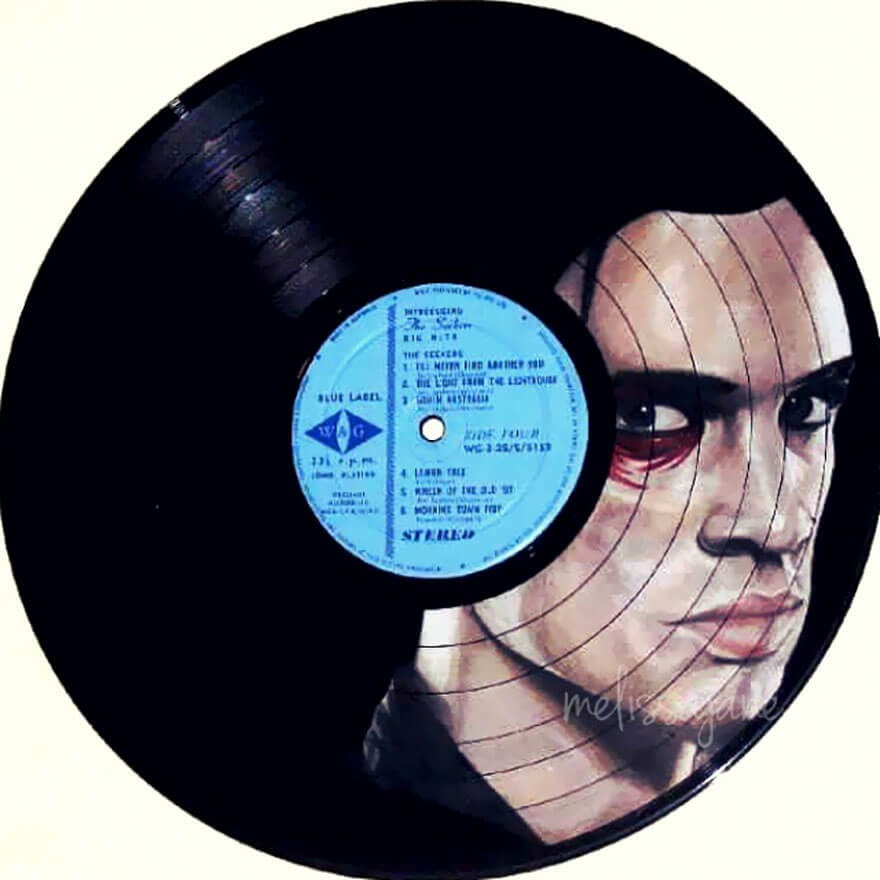 08-Brendon-Urie-Melissa-Jane-Celebrity-Portrait-Drawings-On-Used-Vinyl-Records-www-designstack-co