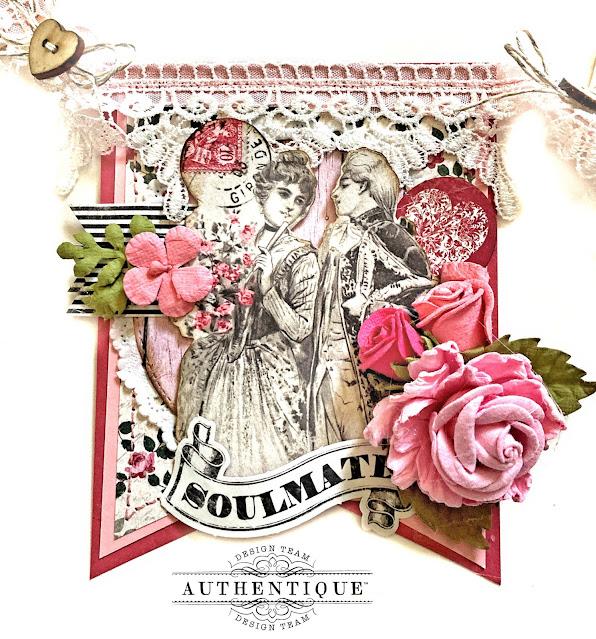 Romantic Valentine Banner Authentique Romance by Kathy Clement