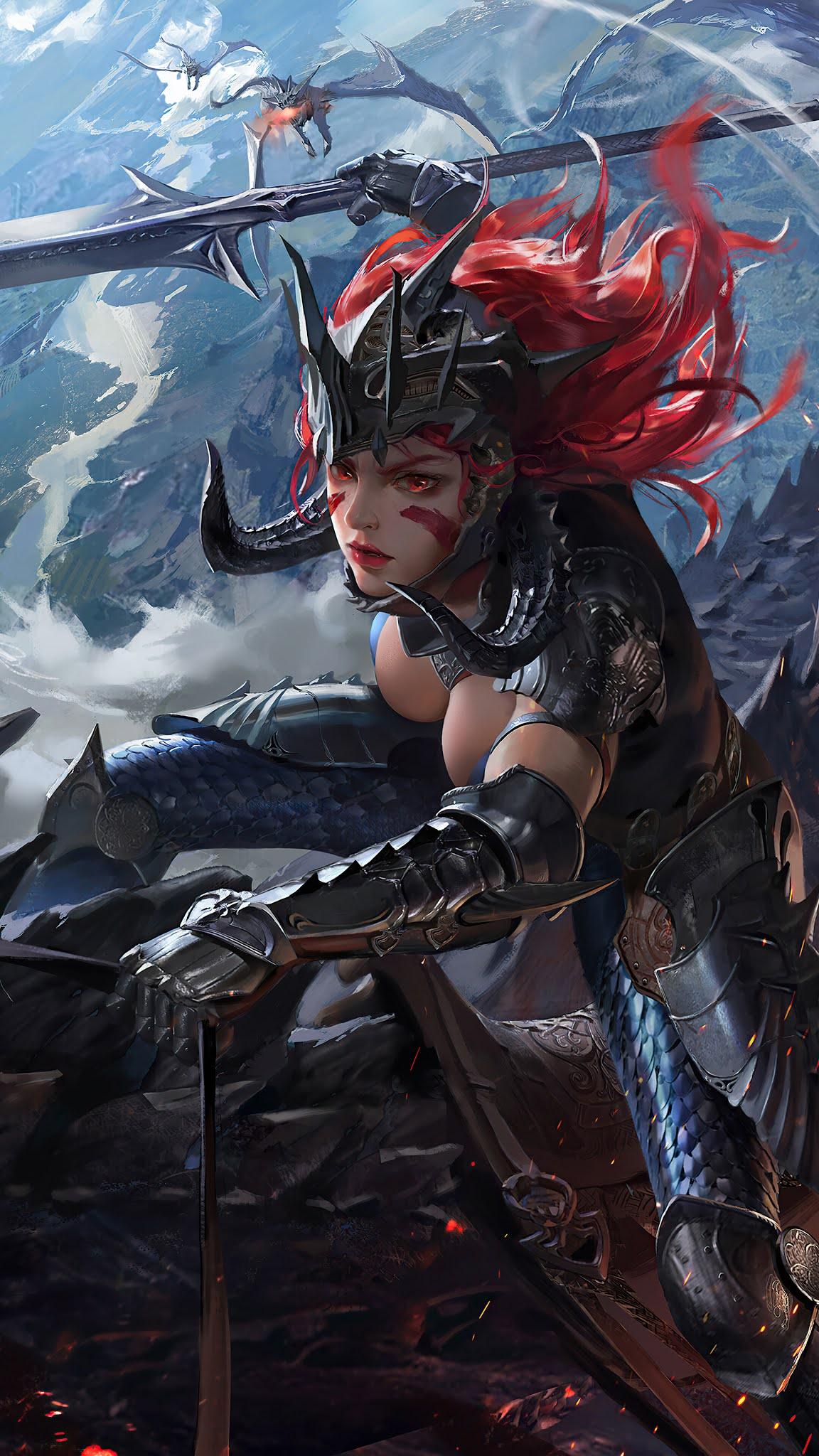 dragon rider female warrior fantasy wallpaper