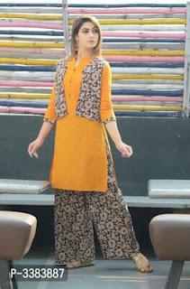 EDS Designer Cotton Kurti with koti and Palazzo Set