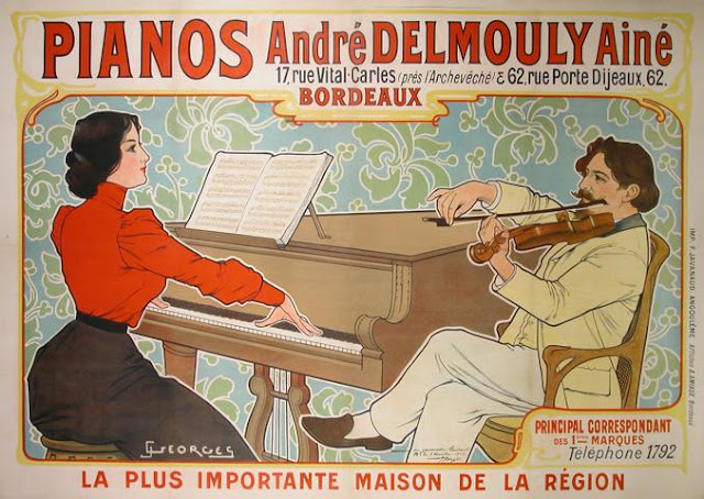 Vintage pianos poster Andre Delmouly / Κλασική αφίσα για πιάνο των αρχών του 20ου αιώνα