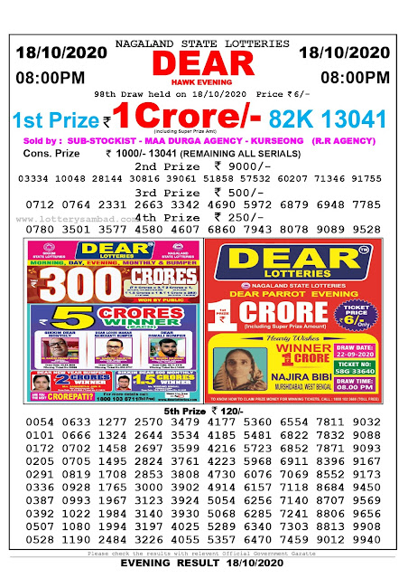 8pm Lottery Sambad, 18.10.2020, Sambad Lottery, Lottery Sambad Result 8 00 pm, Lottery Sambad Today Result 8 pm, Nagaland State Lottery Result 8 00 pm