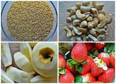 Orzechowy bulgur z jabłkiem i truskawkami - składniki