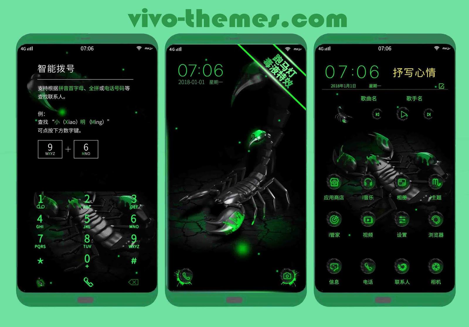 √ Green Scorpion Theme For Android Vivo Phones - vivo