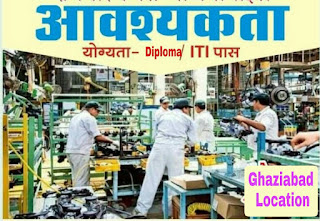 ITI and Diploma Freshers Candidates Job Vacancy in Sprinkler Parts Manufacturing Company Mohan Nagar, Ghaziabad