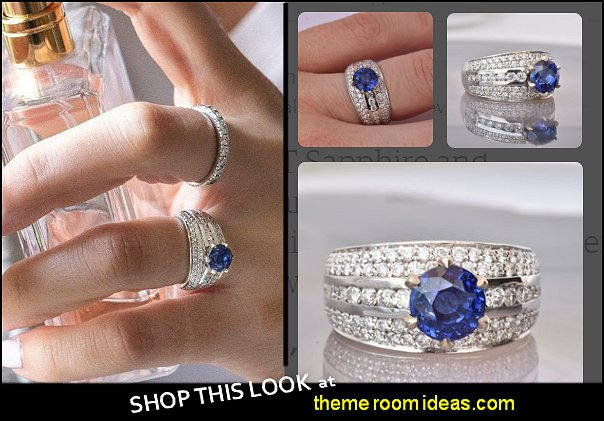 Sapphire and Diamond Bombe - 14K white gold Ring - Designer Jewelry Sapphire ring diamond rings