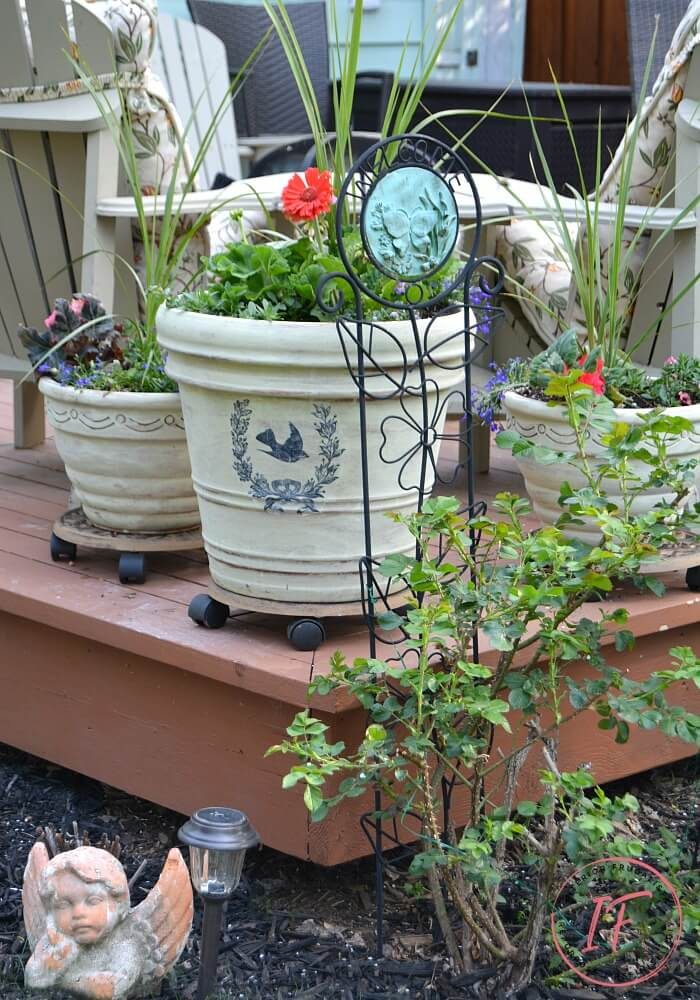 Paint Washed Terracotta Pots With French Graphic