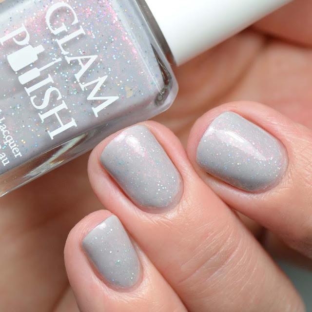 grey shimmer nail polish swatch