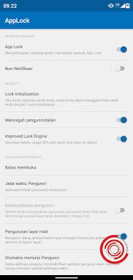 3. Jika sudah di nonaktifkan, maka ikon di Applock di status bar akan hilang alias tidak akan muncul
