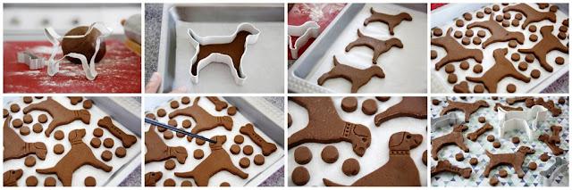 Ste-by-step making a dog treat shaped like a dog
