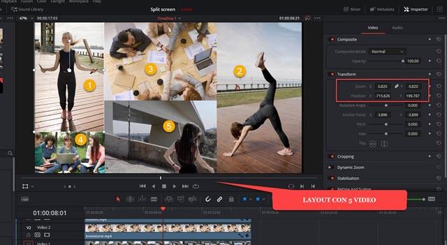 mostrare un layout con 5 video di diverse risoluzioni
