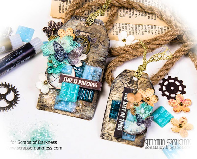 Scraps of Darkness scrapbook kits: Mixed media grunge tags video tutorial. Tanya SonataJoy created these tags with our Sept. Tanya's Industrial Odyssey kit, and did a Youtube tutorial to go along with them.