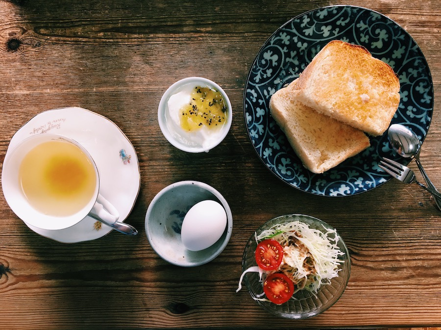 A delicious western style Japanese breakfast in a Honmura Cafe on Naoshima Island Japan