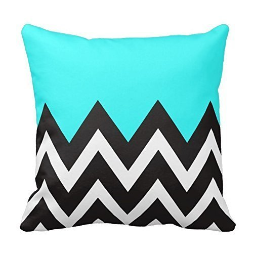 Turquoise Black And White Bedding Chevron Pillow Cover