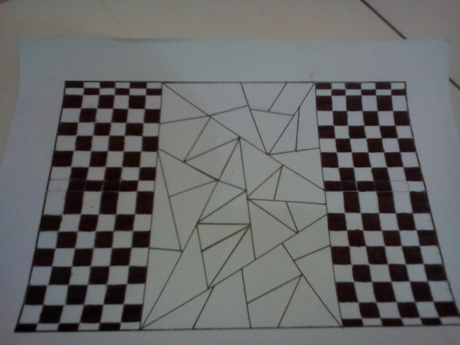 Setelah kita menghitamkan bentuk persegi atau persegi panjang sekarang kita kan mewarnai bentuk yang ada pada bagian tengah tersebut seperti gambar