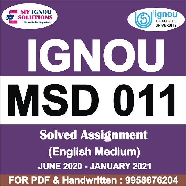MSD 011 Solved Assignment 2020-21