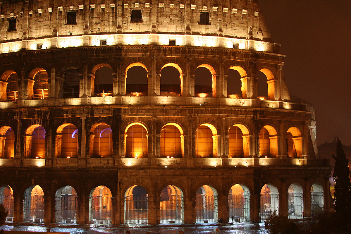 Colosseum in Rome  at nightime
