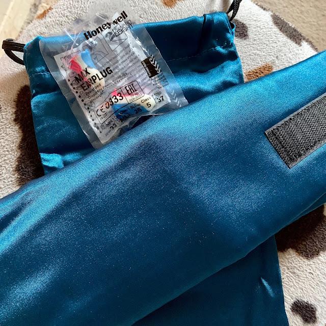 Sleep Master deluxe sleep mask with ear plugs and carry bag