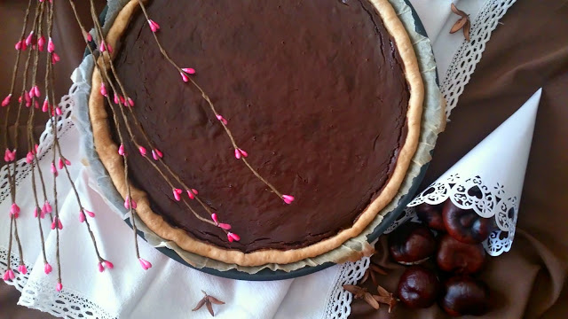 tarta castaña chocolate masa quebrada horno pastel postre desayuno merienda rico otoño marron glace crema fácil rico receta