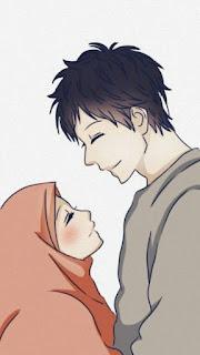 kartun anime wanita romantis muslim