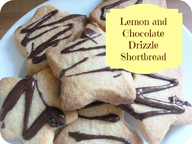 lemon and chocolate drizzle shortbread