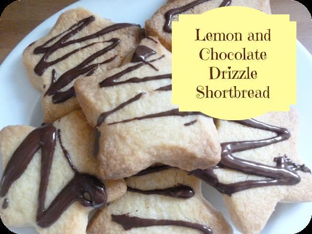 lemon and chocolate drizzle shortbread
