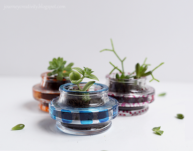 Upcycle glass cap pots