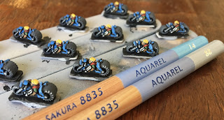 GW Epic Squat Bikers Edge Highlight with Watercolor Pencils Aquarel Blue