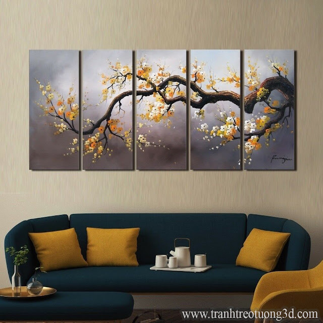 Tranh Bộ Treo Tường 5 Tấm Vẽ Hoa Mai