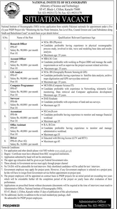Latest Jobs in National Institute of Oceanography Karachi 2021 Advertisement - Multiple Positions