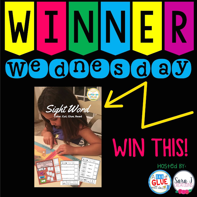 Hop on over to Sunshine and Lollipops to enter a chance to win this great sight word resource for WINNER WEDNESDAY!