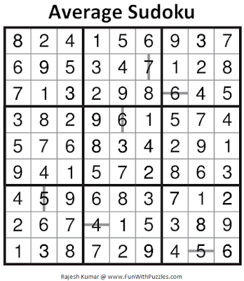Average Sudoku (Daily Sudoku League #136) Solution