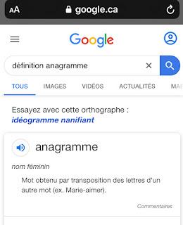 L'Oeuf de Pâques de Google Définition de Anagramme