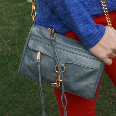 Rebecca Minkoff 2012 sky grey mini MAC bag with navy marl knit and red skinny jeans outfit | away from the blue