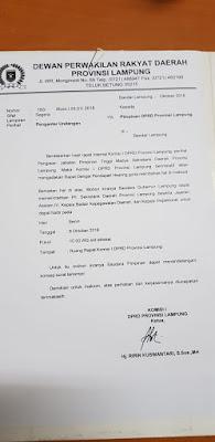 Surat RDP Pansel Sekdaprov Lampung Diduga Palsu