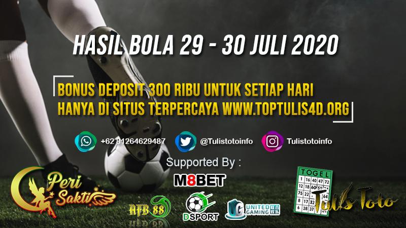 HASIL BOLA TANGGAL 29 – 30 JULI 2020