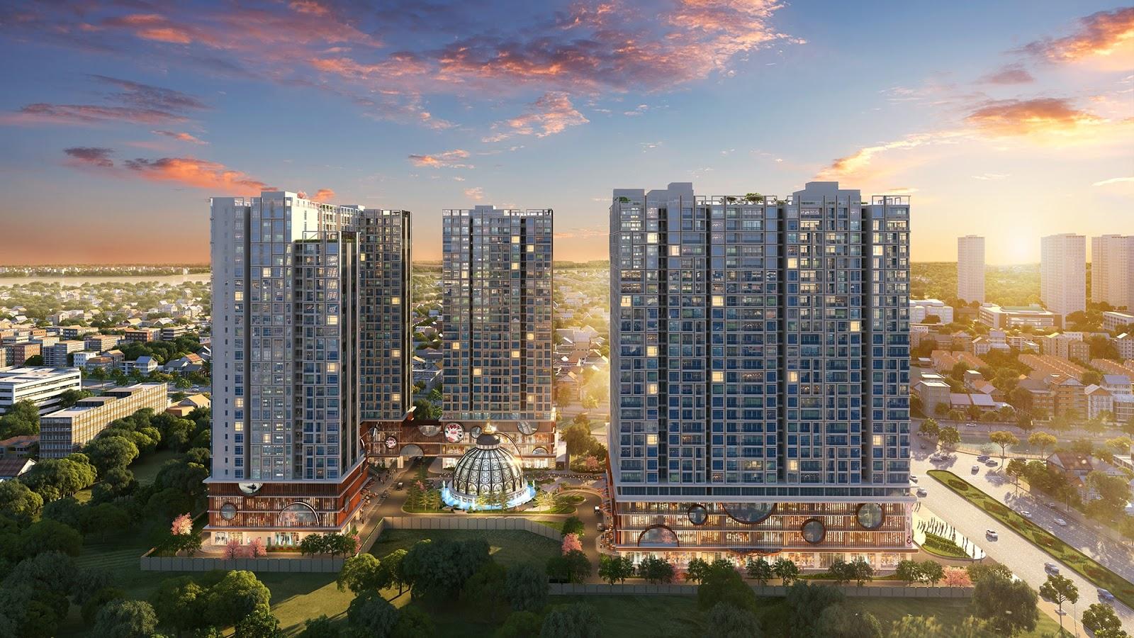 Tổng thể toà căn hộ cao cấp Hinode City 201 Minh Khai