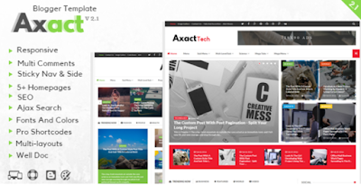 Axact v2.1 Responsive Megazine Blogger Template Free Download