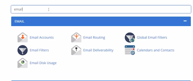 search email on advanced bluehost cpanel
