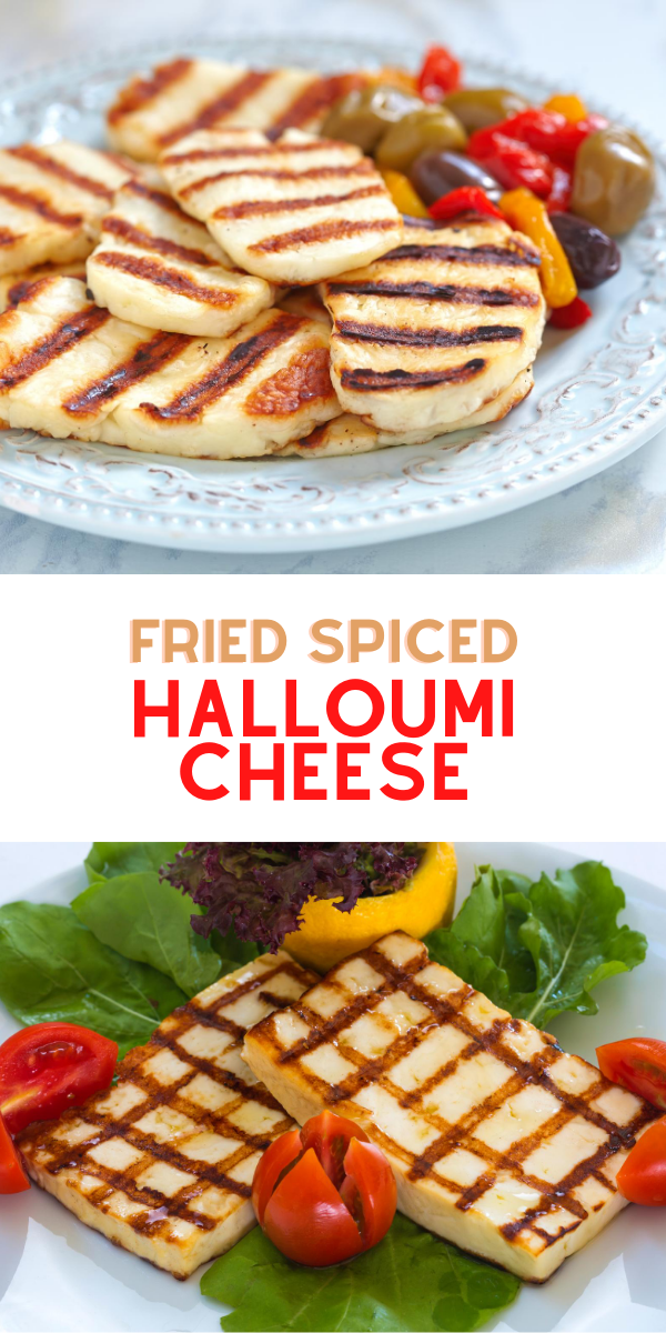 Fried spiced halloumi cheese for breakfast